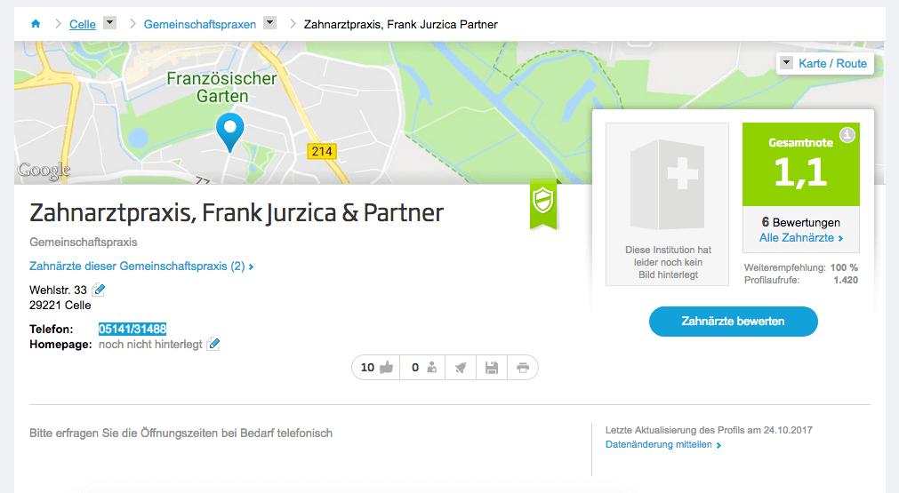 Zahnarztpraxis, Frank Jurzica & Partner