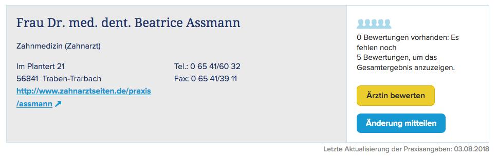 Frau Dr. med. dent. Beatrice Assmann
