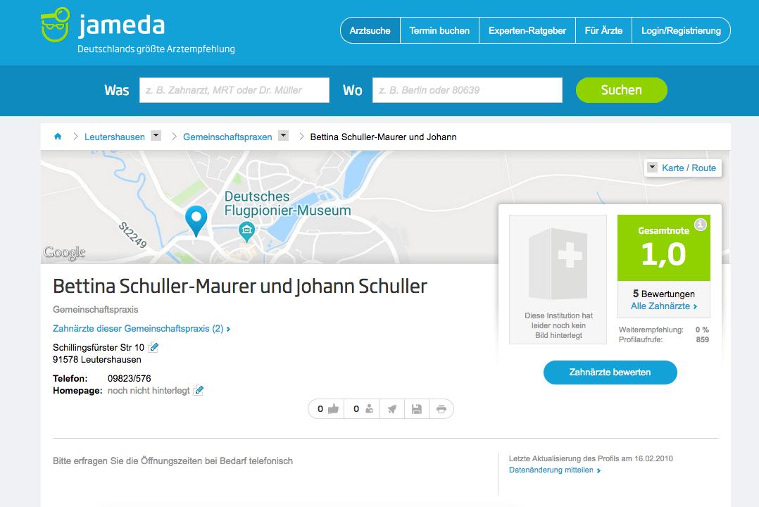 Zahnarztpraxis Johann Schuller und Bettina Schuller-Maurer